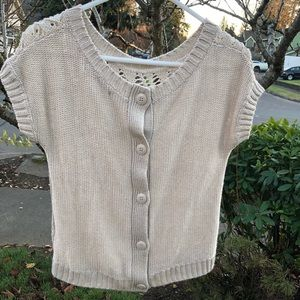Cropped Knit Sweater Top With Crochet Lace Back